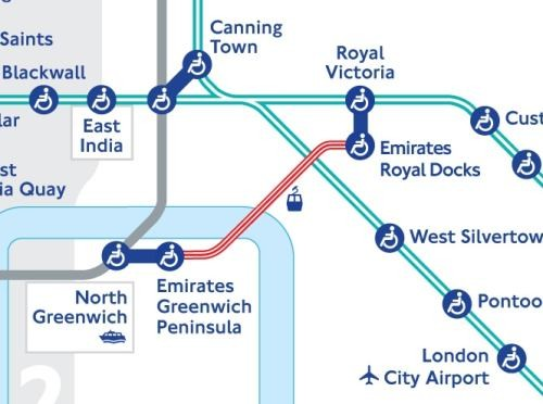 London cable car completed version on Tube map