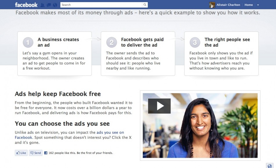Facebook explains advertising