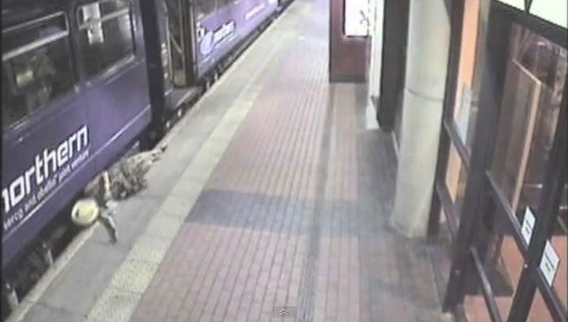 The British Transport Police revealed shocking footage, which shows an intoxicated women falling beneath a train, to highlight the dangers of rail stations to drunk Christmas revellers.
