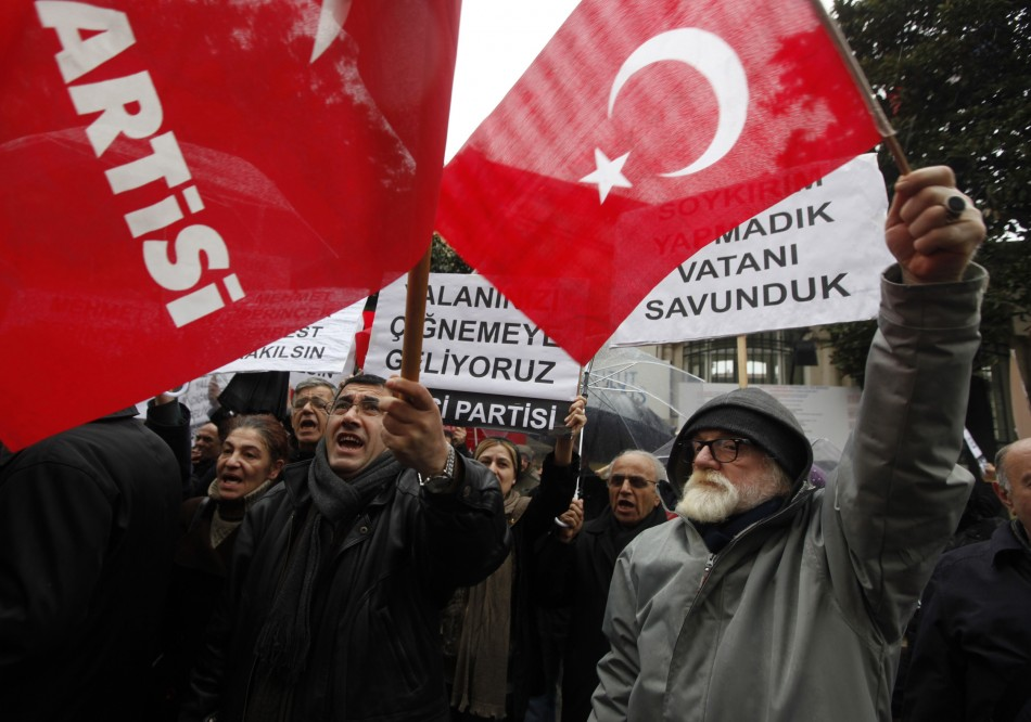 Protesters demonstrate in front of the French consulate in Istanbul