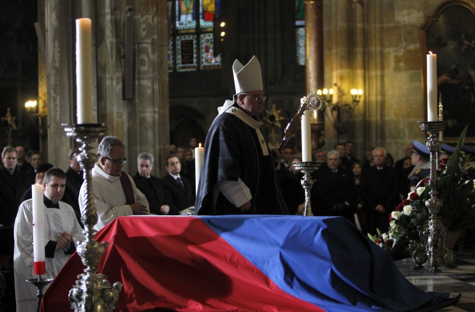 Archbishop Duka walks next to the coffin of late former President Havel during the funeral ceremony inside Prague Castle's St. Vitus Cathedral
