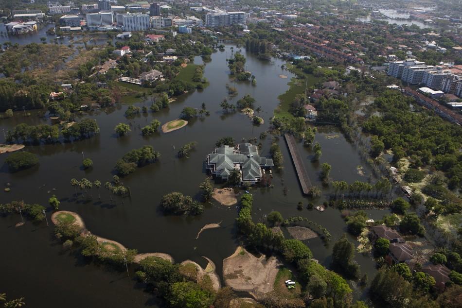 Partially flooded golf course in Bangkok suburb
