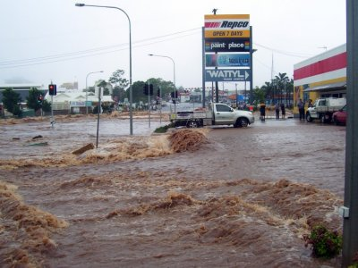 Flash floodwaters cover a street in Toowoomba, Queensland
