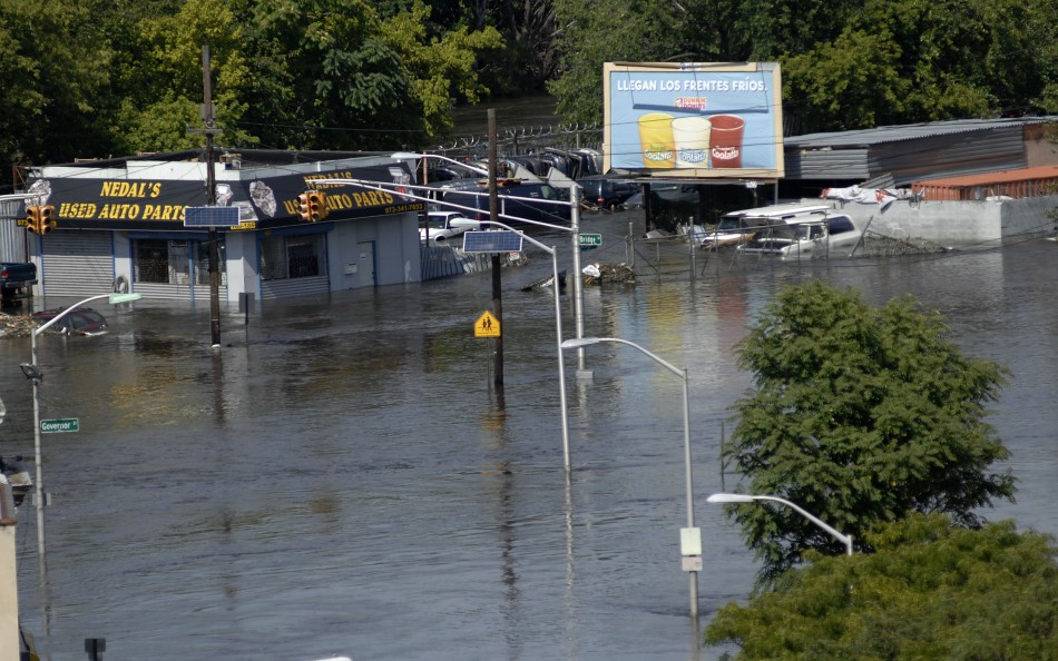 Floodwaters from Passaic River fill the streets in Paterson