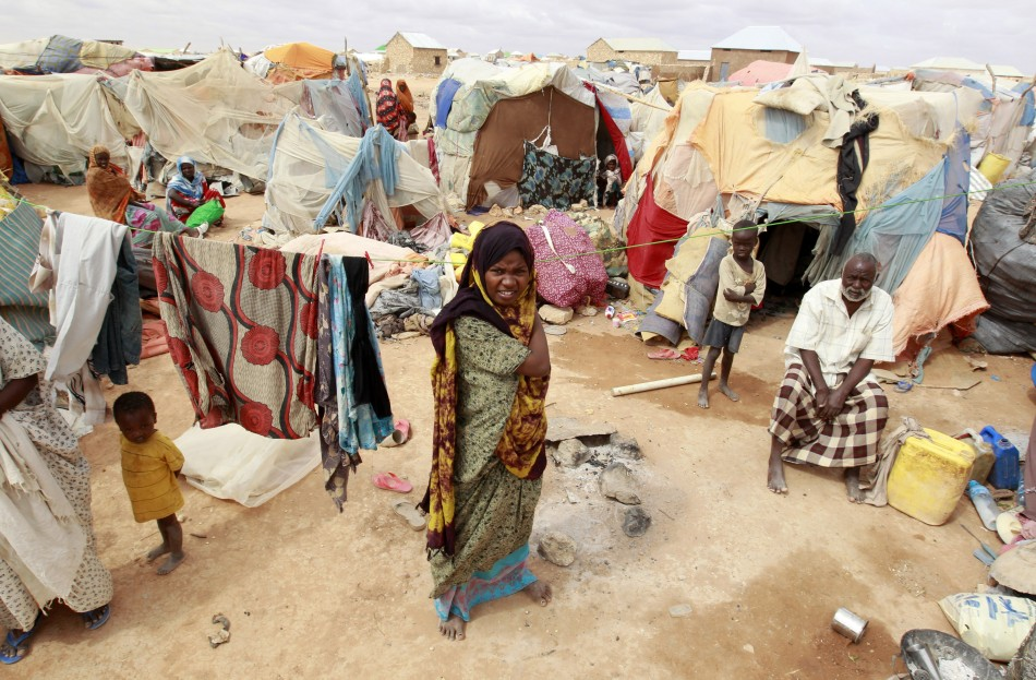 Homeless Somali family put up in a makeshift shelter