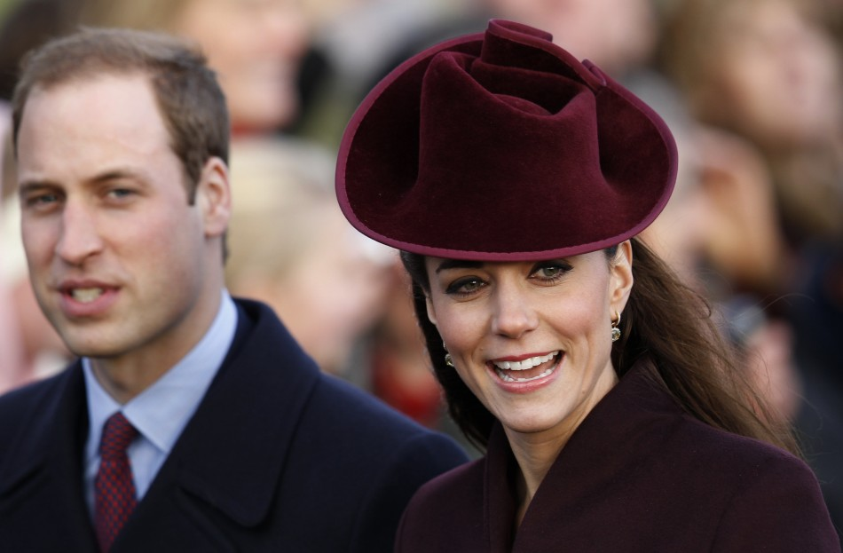 Britain's Prince William and Catherine, the Duchess of Cambridge arrive for a Christmas Day service at St Mary Magdalene Church on the Royal estate at Sandringham, Norfolk in east England,