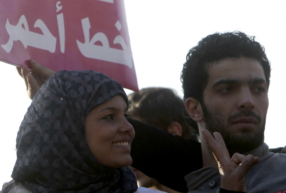 Samira Ibrahim attends a protest against military council violations and virginity tests against females at Tahrir Square