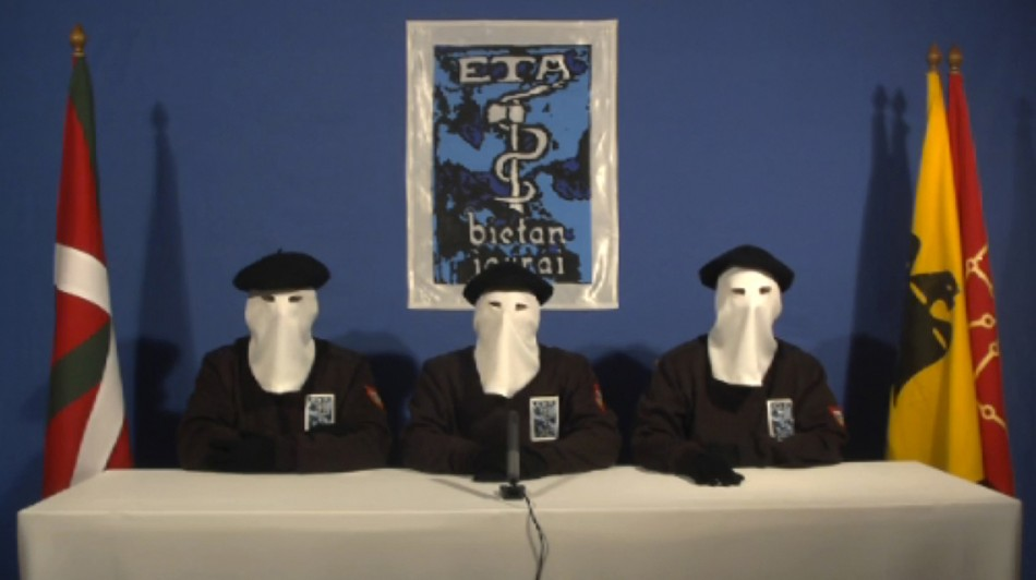 Frame grab shows members of Basque separatist group ETA declaring ceasefire