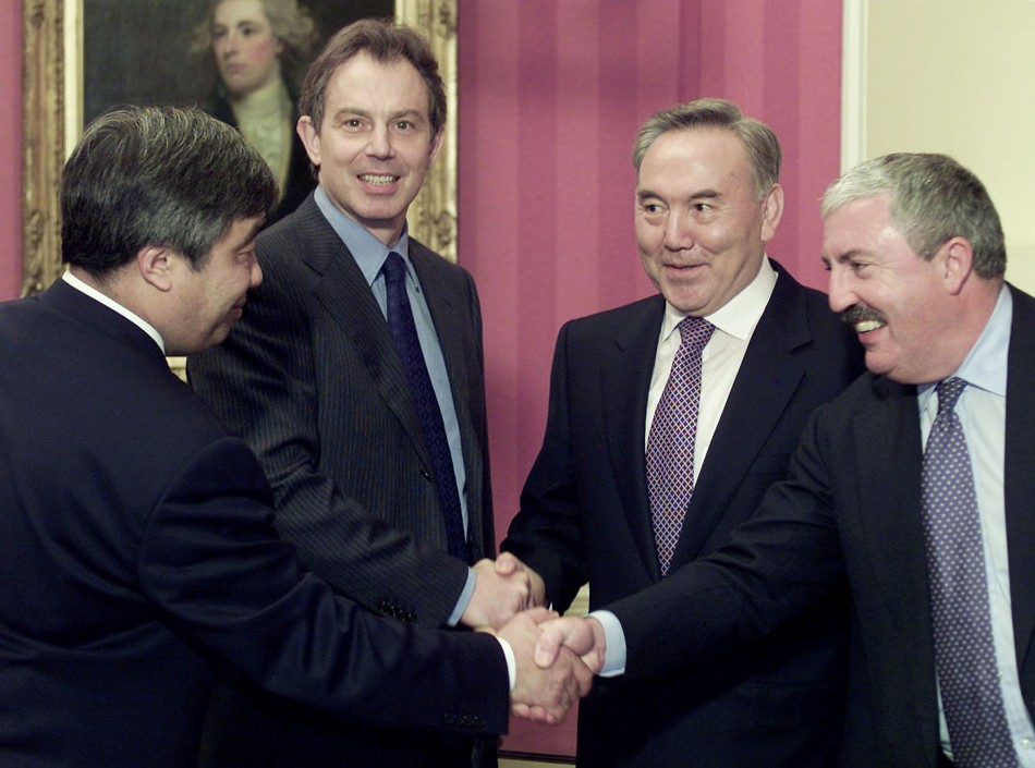 BRITISH PRIME MINISTER TONY BLAIR GREETS KAZAKHSTAN'S PRESIDENT NAZARBAYEV IN LONDON.