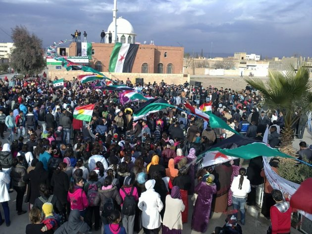 Demonstrators protest against Syrian President Bashar al-Assad in Amude