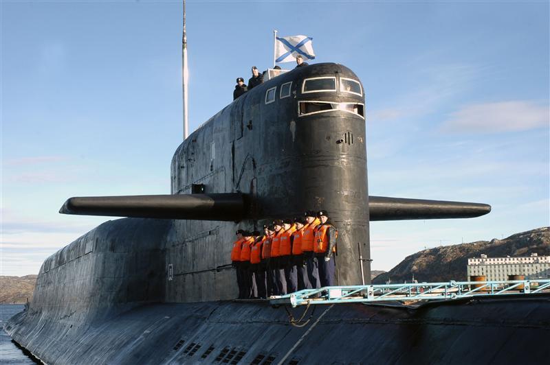 File photo of crew of Russia's nuclear-powered submarine Yekaterinburg as it returns to Gadjiyevo base in Murmansk region