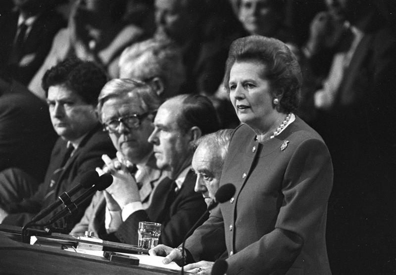 Margaret Thatcher gives the final address of the Conservative Convention in Brighton in this 1988 file photo