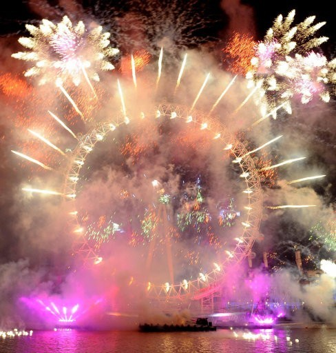 Fireworks over the London Eye, in central London