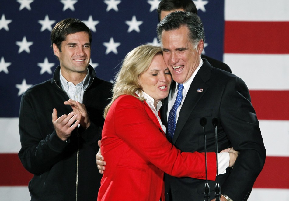 Republican presidential candidate and former Massachusetts Governor Mitt Romney hugs his wife Ann
