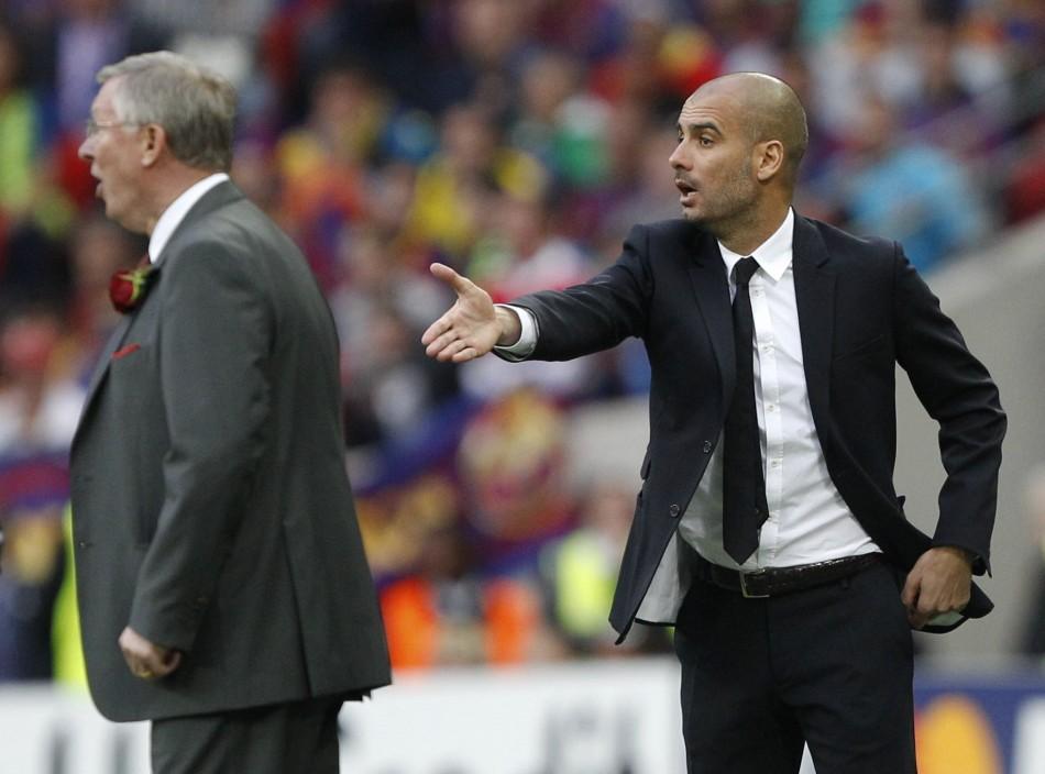 Manchester United boss Sir Alex Ferguson and Barcelona's Pep Guardiola