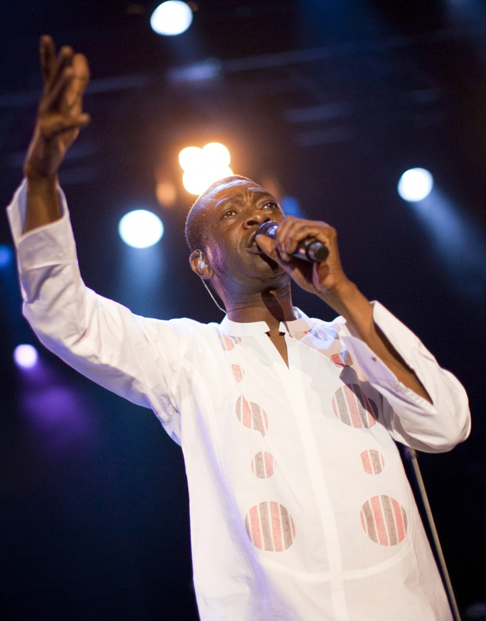 Senegalese singer N'Dour performs onstage during the 44th Montreux Jazz Festival in Montreux