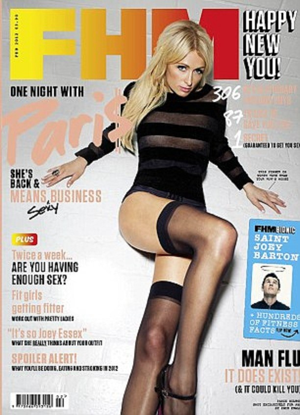 Paris Hilton graces the February 2012 cover of FHM UK.