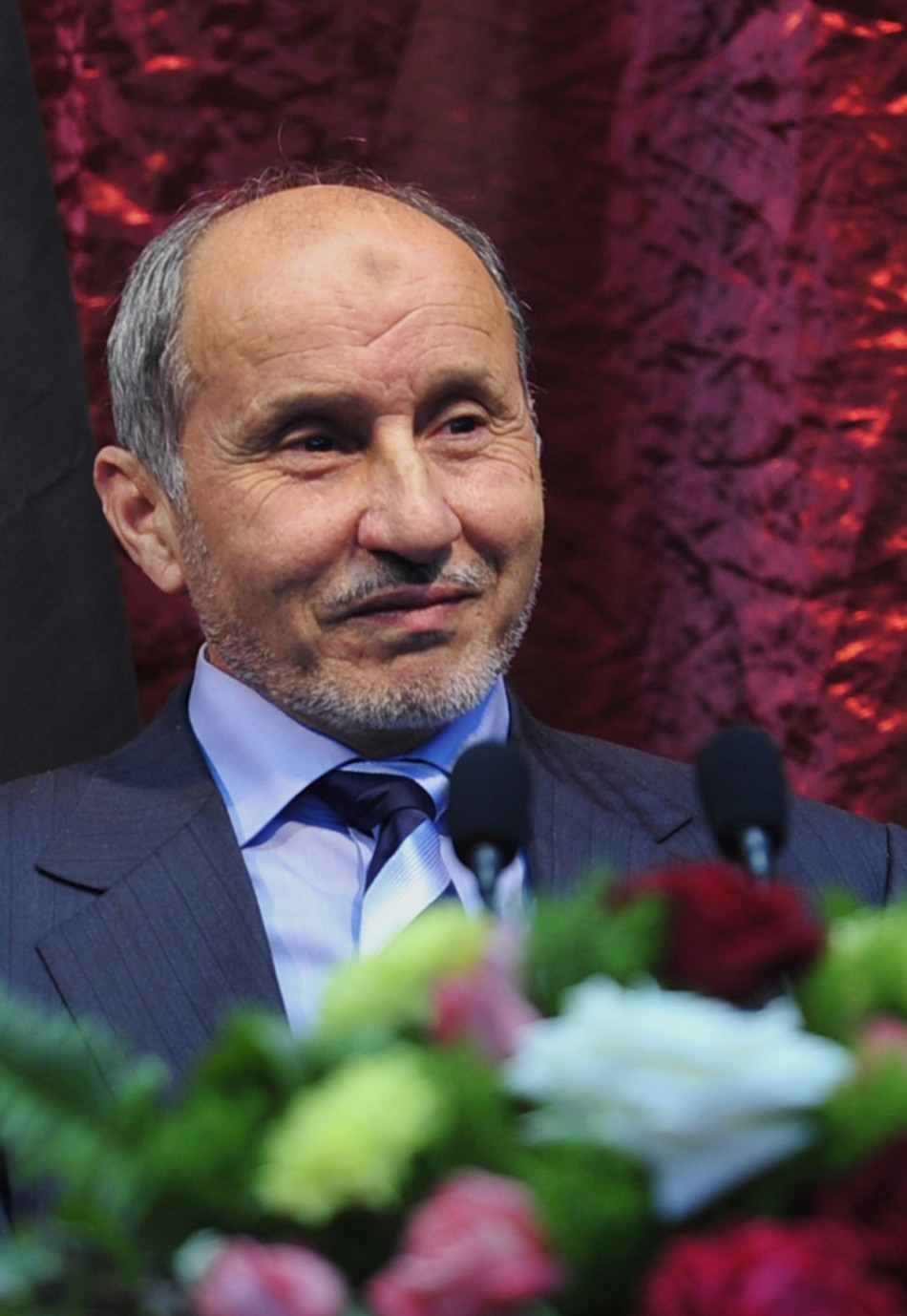 Libya's NTC leader Abdel Jalil listens meets  civil society institutions in Benghazi