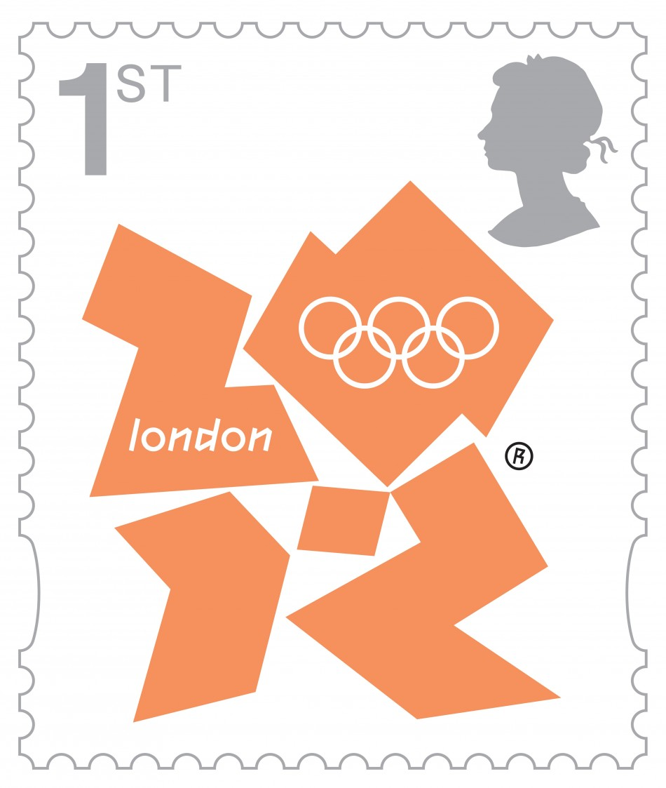 london 2012 olympic games marked with stamp set