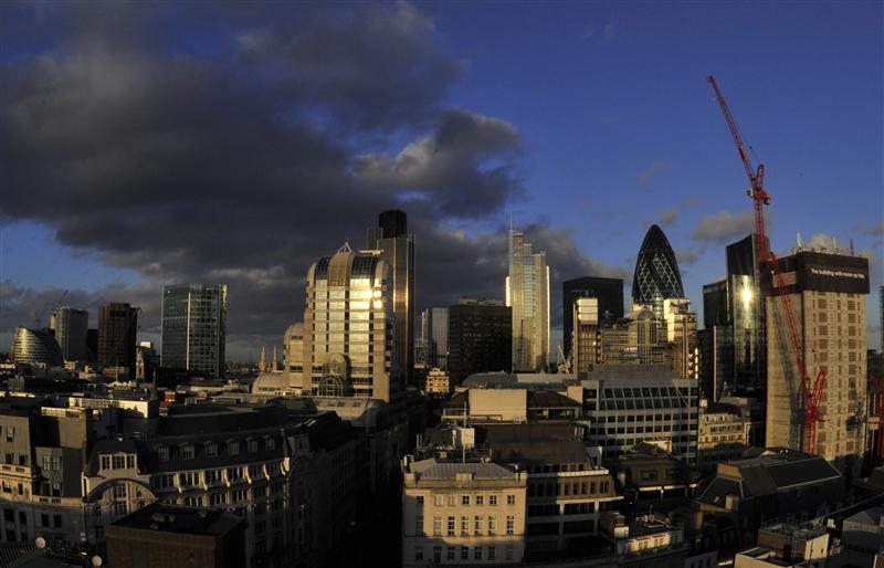 A view of financial buildings in the city of London