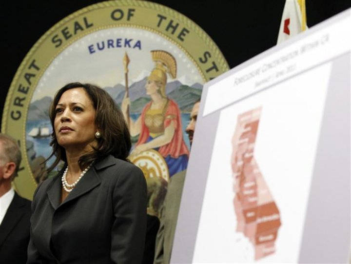 Harris attends a news conference to announce the creation of the Mortgage Fraud Strike Force in Los Angeles