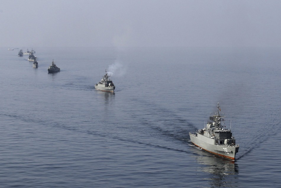Ships participate in naval parade on Sea of Oman near Strait of Hormuz