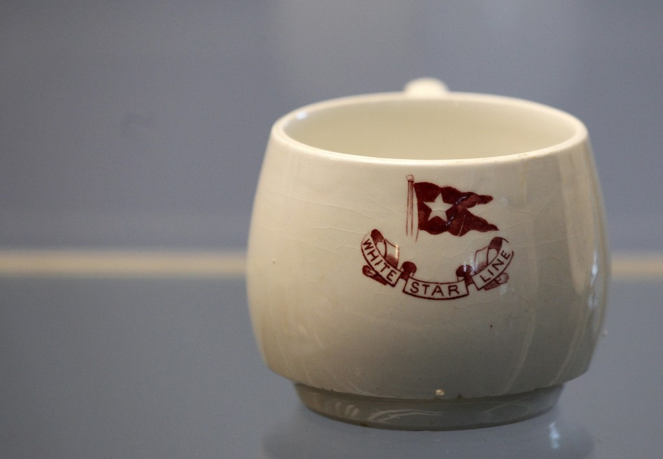 A cup recovered from the RMS Titanic is on display during the Titanic Auction preview by Guernsey's Auction House in New York