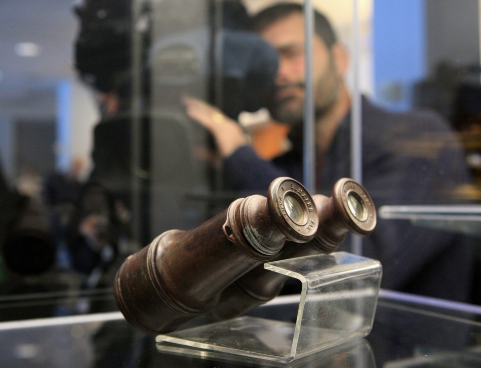 A pair of binoculars recovered from the RMS Titanic is on display during the Titanic Auction preview by Guernsey's Auction House in New York, January 5, 2012
