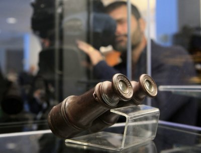 A pair of binoculars recovered from the RMS Titanic is on display during the Titanic Auction preview by Guernseys Auction House in New York, January 5, 2012