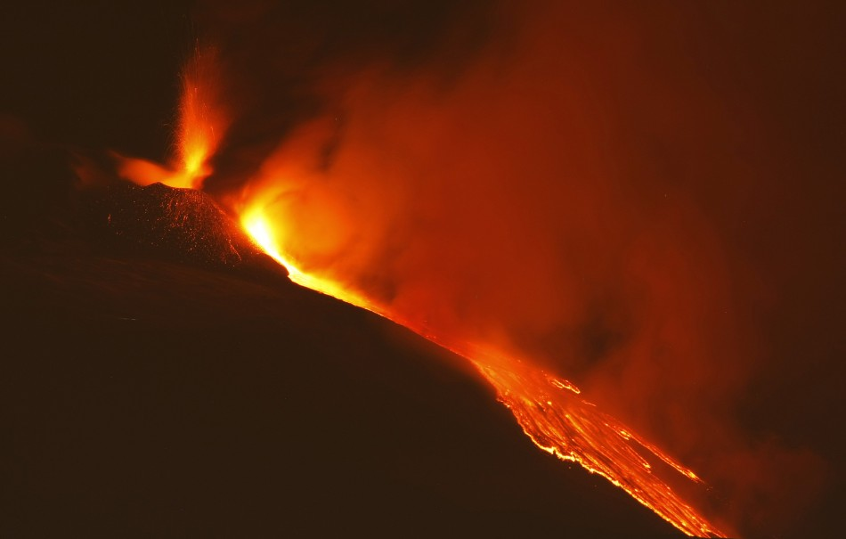 Mount Etna spews lava during an eruption on the southern Italian island of Sicily