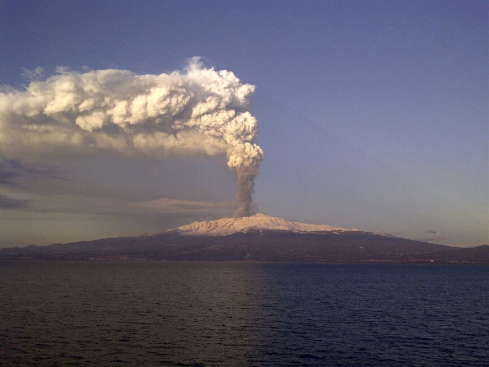 Mount Etna spews volcanic ash during an eruption on the southern Italian island of Sicily