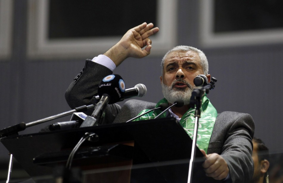 Ismail Haniyeh speaks during a meeting in Tunis
