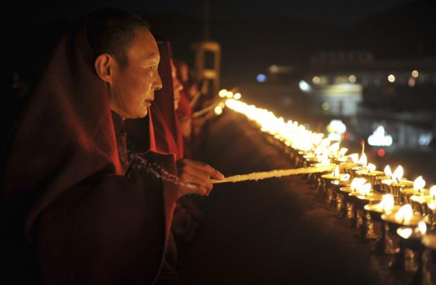 Tibetan monk fire