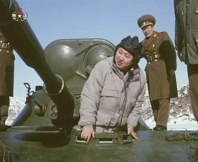 Kim Jong-un inspects an armoured vehicle