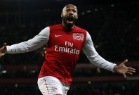 Arsenal\'s Thierry Henry celebrates his goal against Leeds United