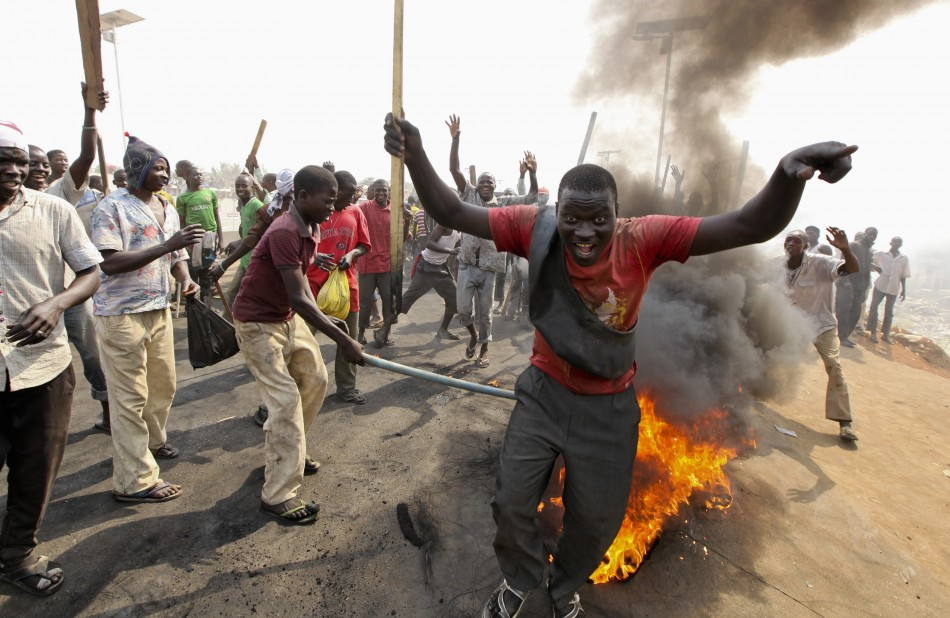 Demonstrators protest against scrapping the fuel subsidy