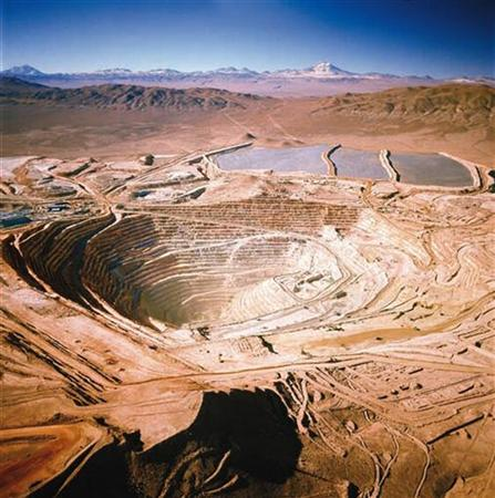 The BHP Billiton Escondida copper mine, southest of Antofagasta, Chile, is seen in this aerial handout photograph