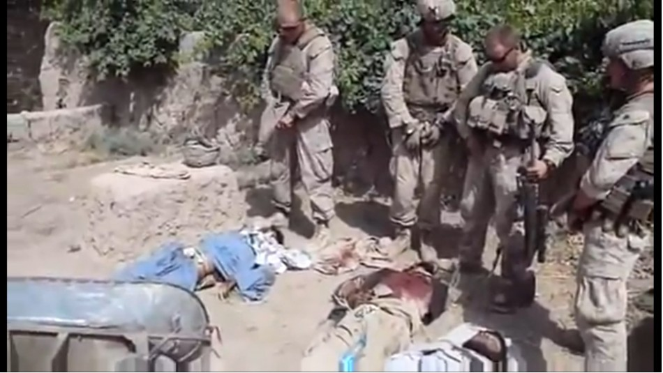 US marines urinating on dead Taliban bodies
