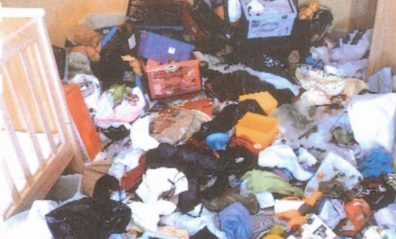 The squalor in the flat in Paisley, Renfrewshire, where Kimberley Hainey lived with her son, Declan (BBC)