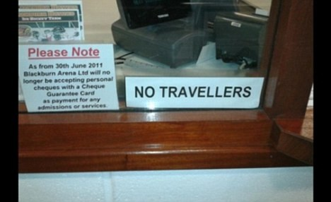 """No Travellers,"": the racist sign."