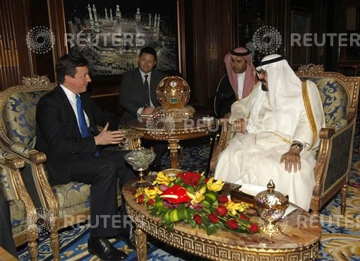 Saudi Arabia's King Abdullah meets British Prime Minister David Cameron in Riyadh