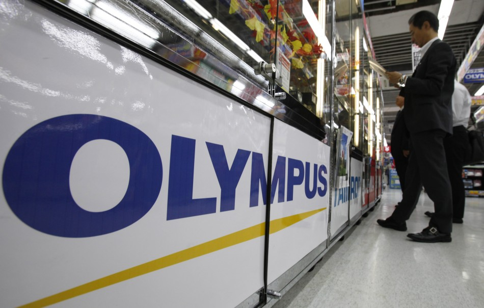 A logo of Japan's Olympus Corp. is pictured at an electronic store in Tokyo last Oct. 28.