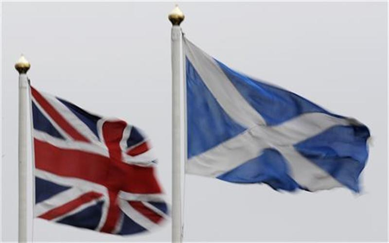 The Union flag and Saltire are seen flying side by side at Bankfoot in Perthshire ,Scotland
