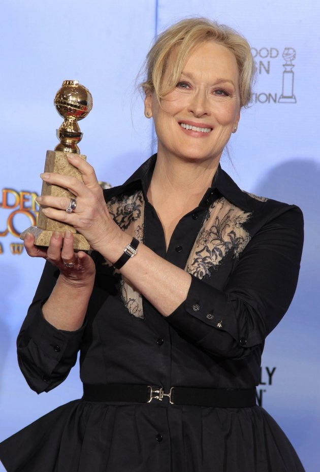 "Meryl Streep, winner of best performance by an actress in a drama motion picture for her role in ""The Iron Lady"", poses in the photo room in Beverly Hills (Reuters)"