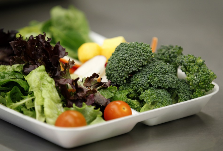 Some of more than 8,000lbs of locally grown broccoli from a partnership between Farm to School and Healthy School Meals is served in a salad to students at Marston Middle School in San Diego.