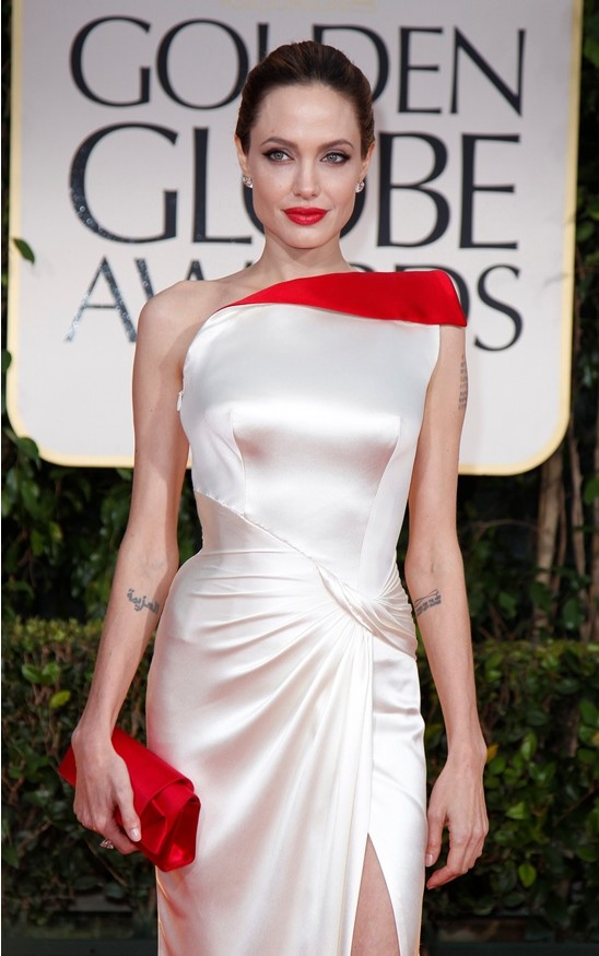 Actress and director Angelina Jolie arrives at the 69th annual Golden Globe Awards in Beverly Hills