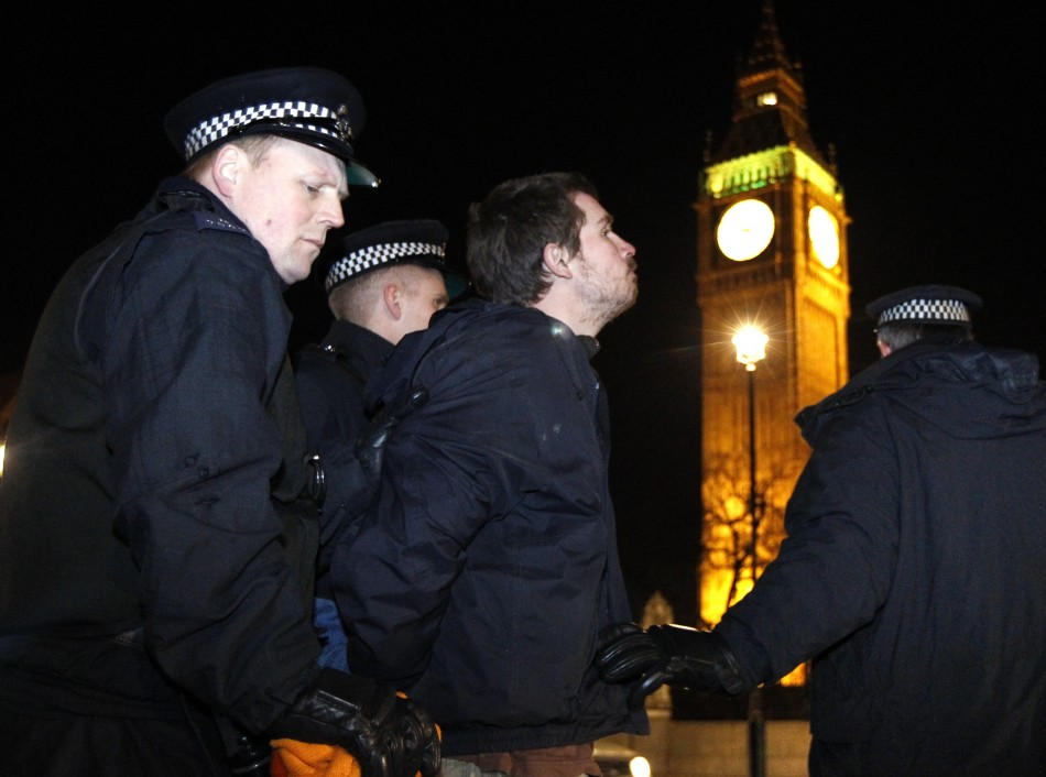Parliament Square protester taken away by police during the Westminster eviction