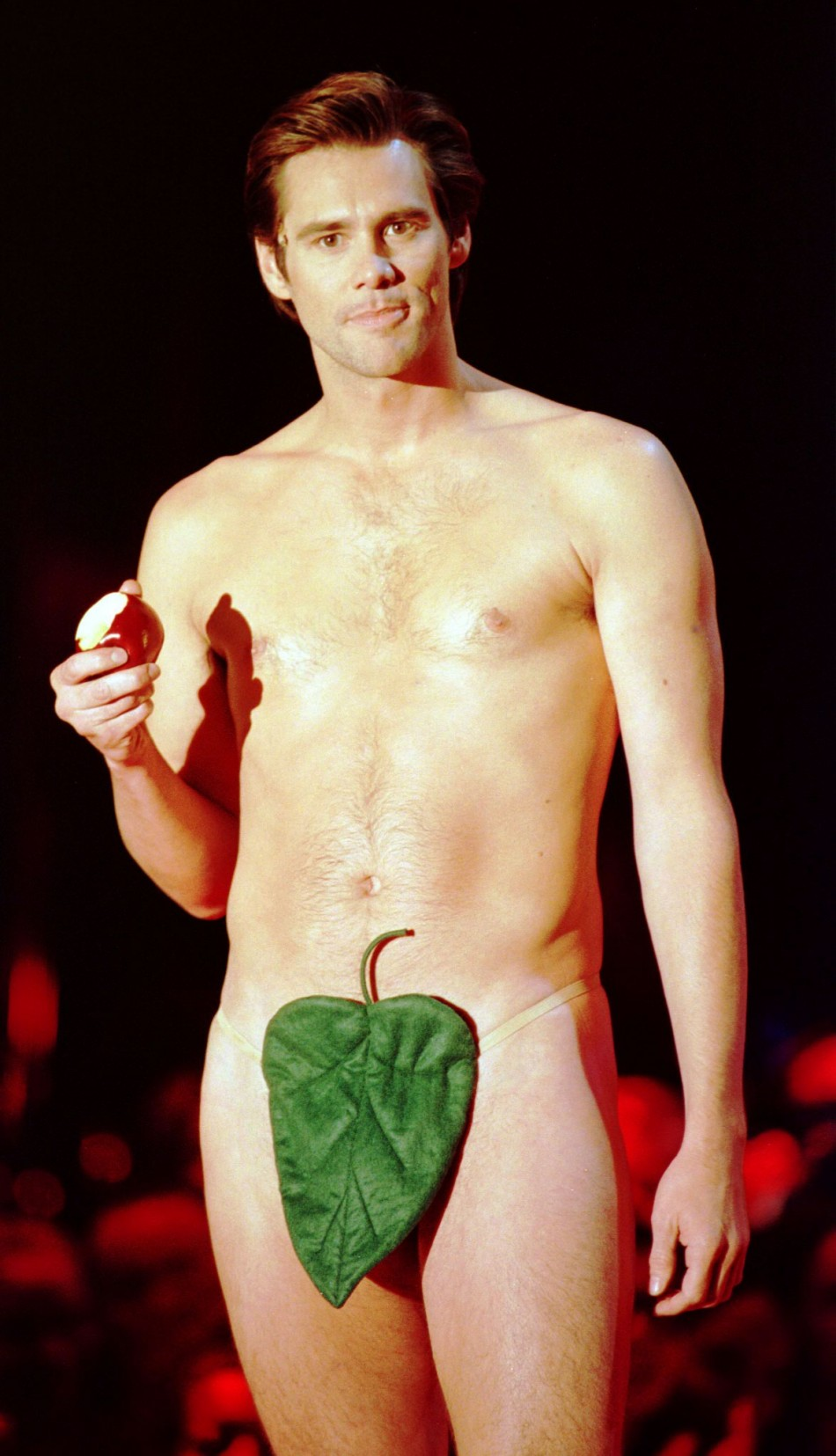 Jim Carrey wore a fig leaf to introduce The Rolling Stones at the VH1 Fashion Awards in New York City in 1997