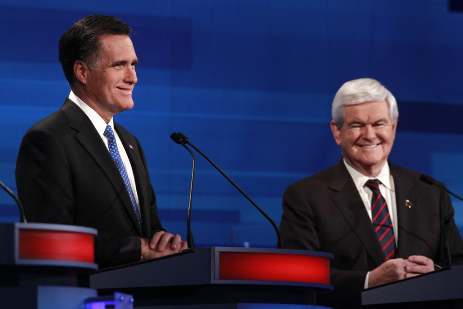 Mitt Romney (L) is frontrunner but there is a long way to go in the race