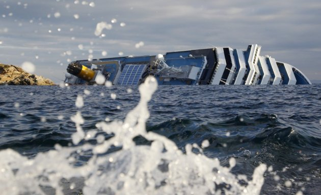 A view of the Costa Concordia cruise ship that ran aground off the west coast of Italy